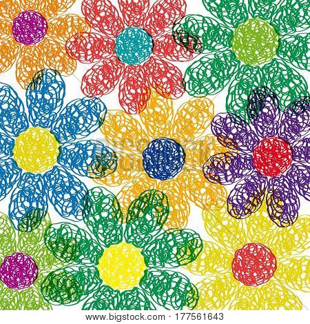 Spring Background. Hand drawn flowers in childish style