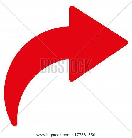 Redo vector icon. Flat red symbol. Pictogram is isolated on a white background. Designed for web and software interfaces.