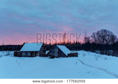 Early morning in the village in winter