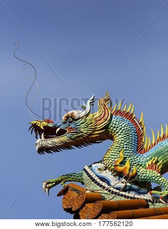 Beautiful dragon statues at the Zizhu Temple or Purple Bamboo Temple as it is known was built over 300 years ago and has been renovated several times over the years. Located in Kaohsiung Taiwan Republic of China it has a huge celebration on the 19th day o