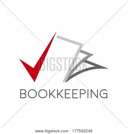 Vector sign bookkeeping concept, isolated on white