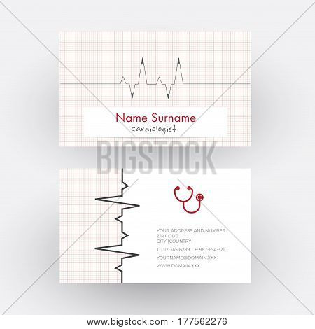 Vector abstract electrocardiogram strip. Cardiologist doctor business card