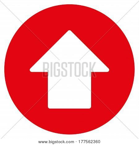 Up Arrow vector icon. Flat red symbol. Pictogram is isolated on a white background. Designed for web and software interfaces.