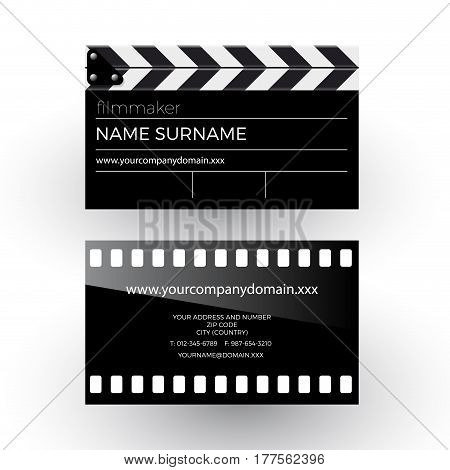 Vector abstract clapperboard and movie film filmmaker concept. Business card