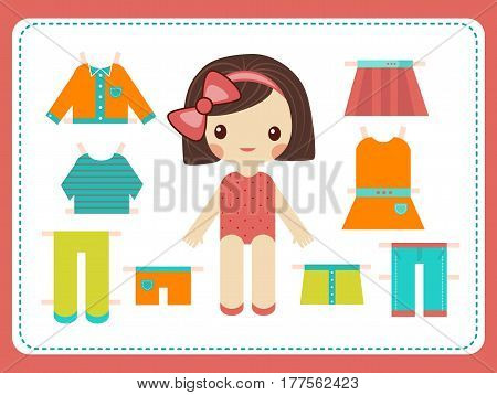 Cute female paper doll with the variety of bright colorful clothes. Girl vector illustration.