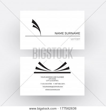 Vector abstract pen with feather concept of writer. Business card
