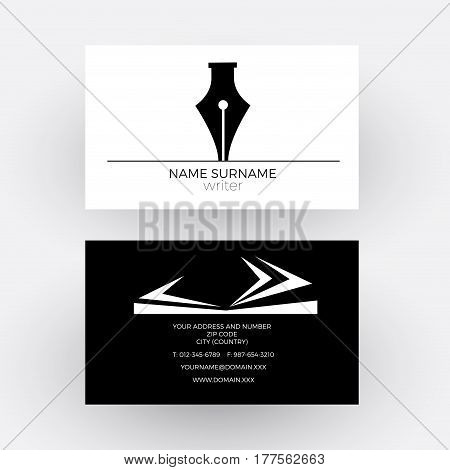 Vector abstract fountain pen concept of writer. Business card