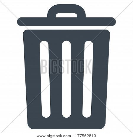 Dustbin vector icon. Flat smooth blue symbol. Pictogram is isolated on a white background. Designed for web and software interfaces.