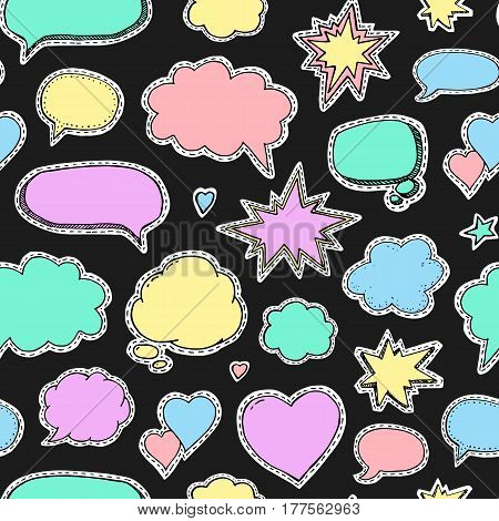 Hand drawn set of speech bubbles. Vector seamless pattern. Endless abstract background. Fashion patch badges and stickers