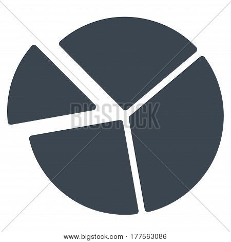 Pie Chart vector icon. Flat smooth blue symbol. Pictogram is isolated on a white background. Designed for web and software interfaces.