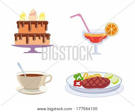 foodstuffs set of colored vector icons on a white background