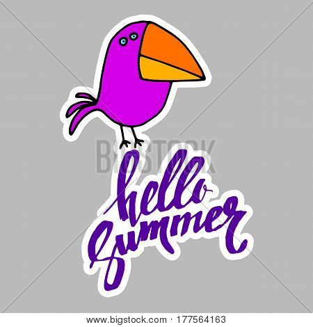 summer, calligraphy, raven, bird, funny animal, hand, graphic, illustration
