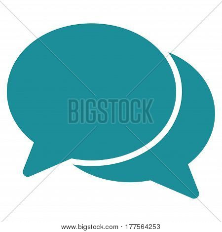 Chat vector icon. Flat soft blue symbol. Pictogram is isolated on a white background. Designed for web and software interfaces.