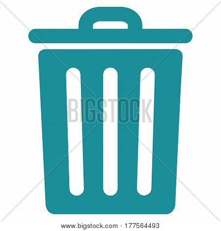 Dustbin vector icon. Flat soft blue symbol. Pictogram is isolated on a white background. Designed for web and software interfaces.
