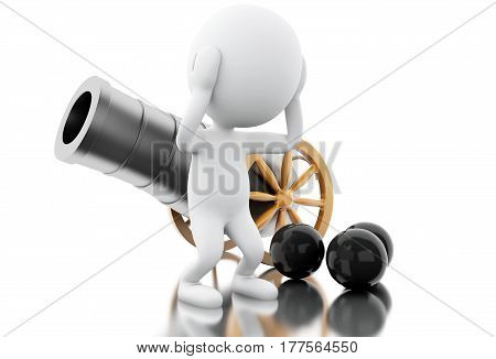 3D White People With Old Cannon