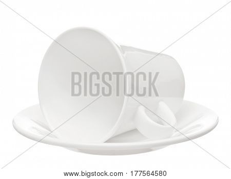 Empty white cup with saucer isolated on white background