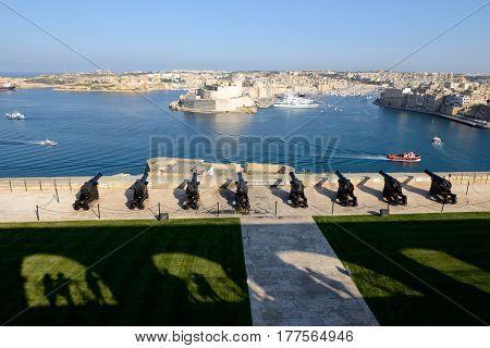 The view on Birgu and yacht marina Birgu Malta
