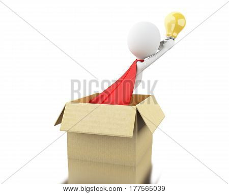3d illustration. White people with red cape and lightbulb thinking outside the box. New creative idea concept. Isolated white background