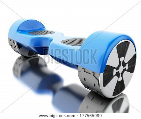 3d illustration. Close up of blue self-balancing scooter. Isolated white background