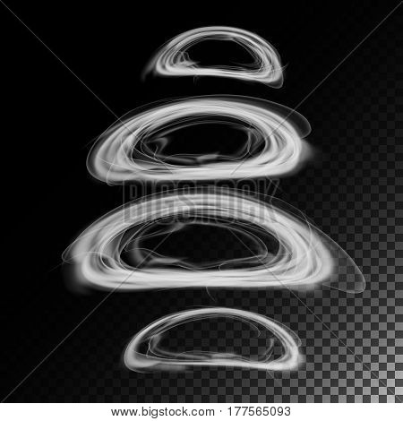Realistic Cigarette Smoke Waves Vector. 3d Illustration. Smoking Symbols On Gray. Smoke Rings