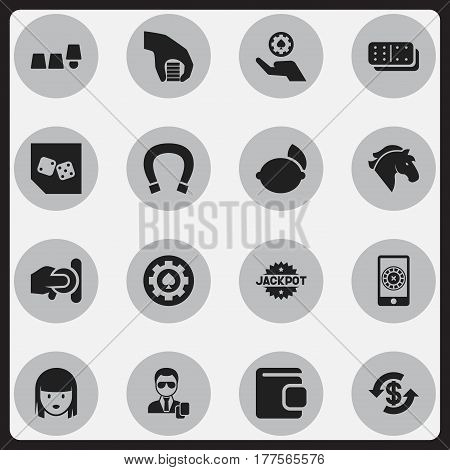 Set Of 16 Editable Excitement Icons. Includes Symbols Such As Throwing Coin, Dice, Poker Money And More. Can Be Used For Web, Mobile, UI And Infographic Design.