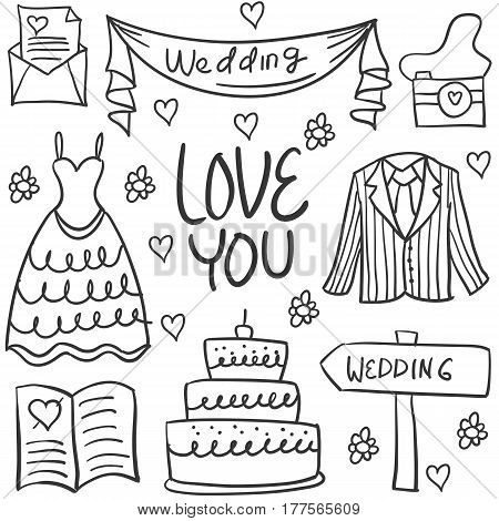 Illustration of wedding element doodles collection stock