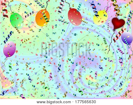 beautiful festive background with confetti balloons and heart
