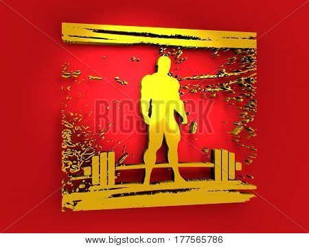 Bodybuilding and barbell silhouettes. Bodybuilder posing on grunge brush stroke. Metallic Material. 3D rendering