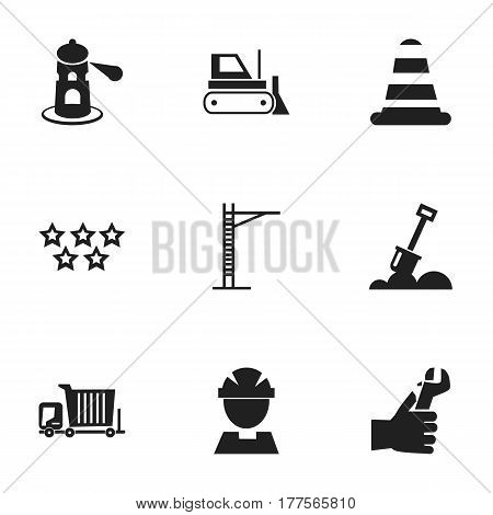 Set Of 9 Editable Construction Icons. Includes Symbols Such As Hands , Worker, Oar. Can Be Used For Web, Mobile, UI And Infographic Design.