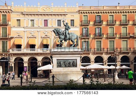 REUS/ SPAIN - MAY 13, 2015, Equestrian statue of the general Joan Prim (sculptor Luis Puiggener), Reus, Spain