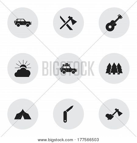 Set Of 9 Editable Travel Icons. Includes Symbols Such As Voyage Car, Sport Vehicle, Ax And More. Can Be Used For Web, Mobile, UI And Infographic Design.