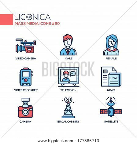 Mass Media - coloured vector modern single line icons set. Male, female reporter, voice, recorder, camcorder, camer, tv tower, newspaper, satellite, television.