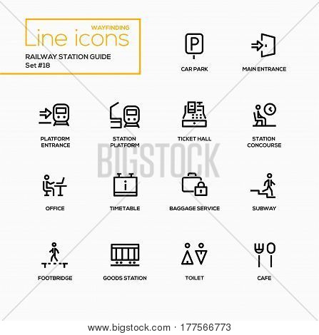 Railway Station Guide - modern vector single line icons set. Car park, main entrance, platform, station, ticket hall, concourse, office, timetable, baggage service, subway, footbridge, goods, toilet, cafe.