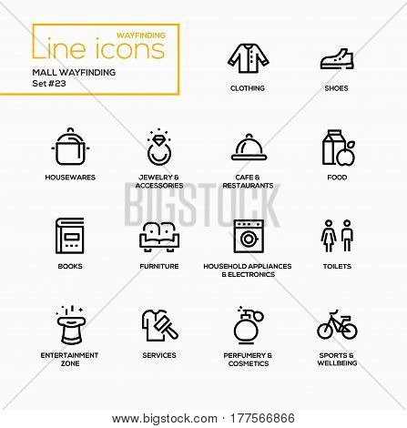 Mall Wayfinding - modern vector single line icons set. Clothing, shirt, shoes, houseware, jewelry, cafe, restaurant, food, book, furniture, sofa, household appliances, toilet, entertainment zone, service, perfumery, cosmetics, sport, bike