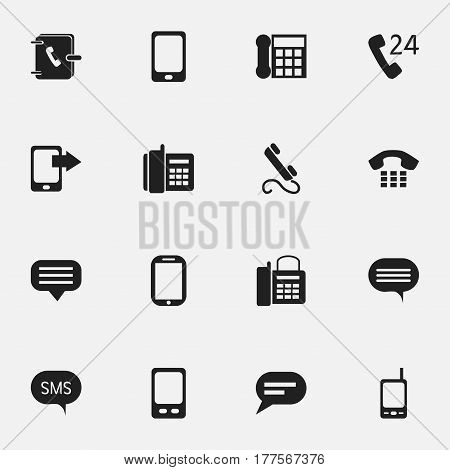 Set Of 16 Editable Gadget Icons. Includes Symbols Such As Comment, Tablet, Smartphone And More. Can Be Used For Web, Mobile, UI And Infographic Design.
