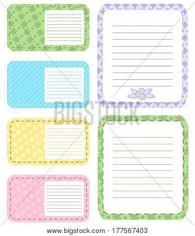 Set of different vector note papers adhesive remind. Business office memo message notepad paper note page. Remember space frame paper note post reminder sheet pad, list, letter.