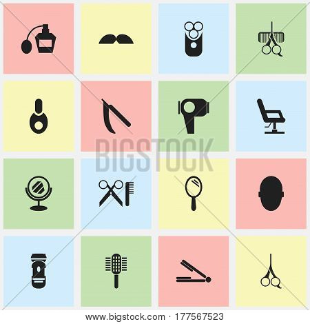 Set Of 16 Editable Hairdresser Icons. Includes Symbols Such As Peeper, Whiskers, Take The Hair Dryer And More. Can Be Used For Web, Mobile, UI And Infographic Design.