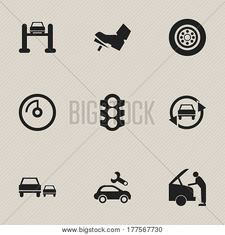 Set Of 9 Editable Vehicle Icons. Includes Symbols Such As Treadle, Tuning Auto, Race And More. Can Be Used For Web, Mobile, UI And Infographic Design.