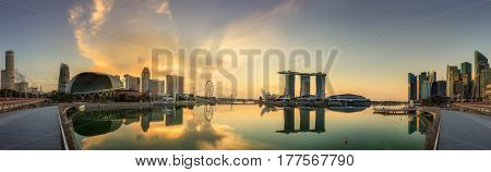 Singapore Skyline and view of skyscrapers on Marina Bay