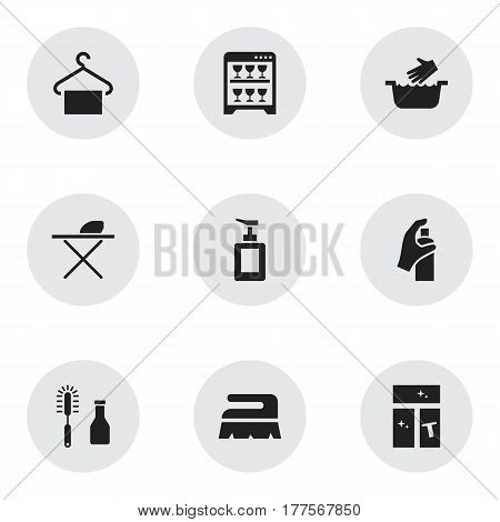 Set Of 9 Editable Dry-Cleaning Icons. Includes Symbols Such As Pressboard, Dishwasher, Clothes Washing And More. Can Be Used For Web, Mobile, UI And Infographic Design.