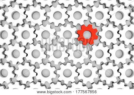 unique gears on white background 3D illustration