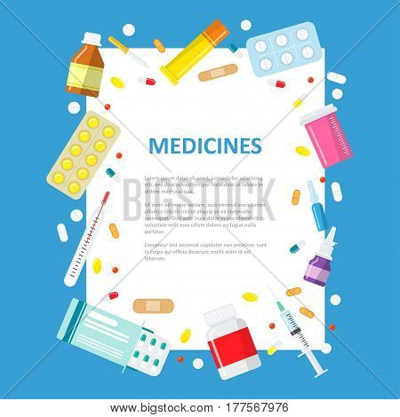 Medical or pharmaceutical banner in a flat style. A sheet of paper surrounded by medical pills, bottles and pills. Medical empty information background.