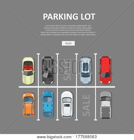 City car parking vector illustration. Sale of vacant places in a park zone or garage. Top view on city car park with different cars in flat style.