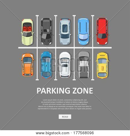 City car parking vector illustration. Full parking area and a shortage of available places. Car Park top view in flat style.