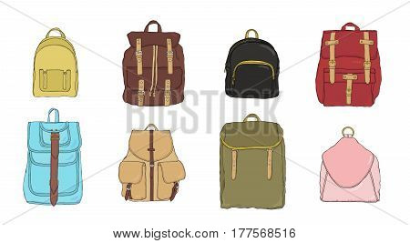 hand drawn colorful realistic backpack set, different trendy rucksac collection.