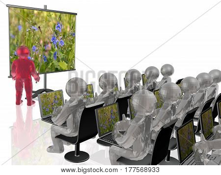 Man with presentation stand about nature white background 3D illustration.