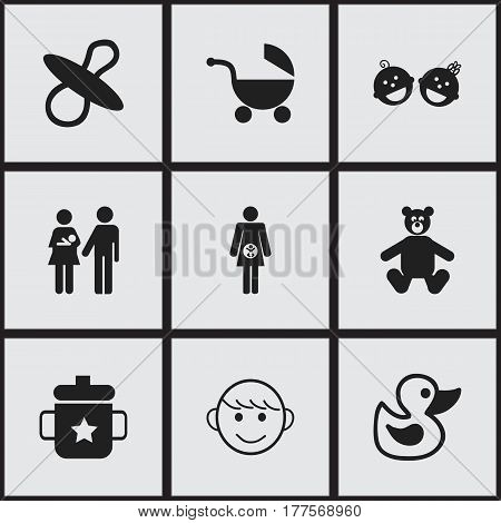 Set Of 9 Editable Child Icons. Includes Symbols Such As Soothers, Goplet, Teddy And More. Can Be Used For Web, Mobile, UI And Infographic Design.