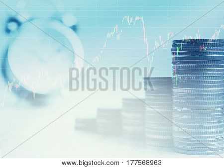 Double exposure of row coins stack with clock and graph Concept finance and business time management