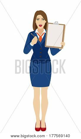Businesswomen giving pen for your signature on clipboard. Full length portrait of businesswoman in a flat style. Vector illustration.