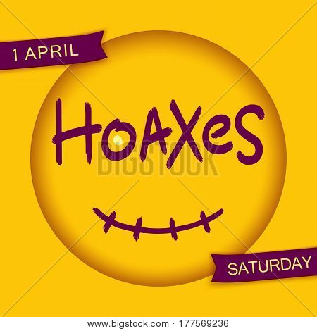 Hoaxes. Stylized smiley design. Grunge brush lettering in 3D round frame with smile. Vector EPS 10